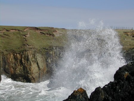 The sea smashes the coast at Porthor