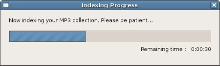 Progress bar for TIM indexing process