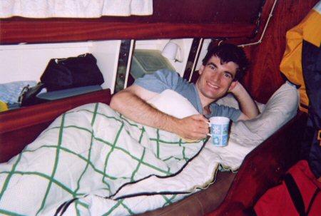 Kieran in a bunk on board Burnaby