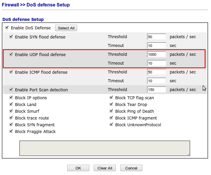 Draytek DoS UDP Settings Screenshot